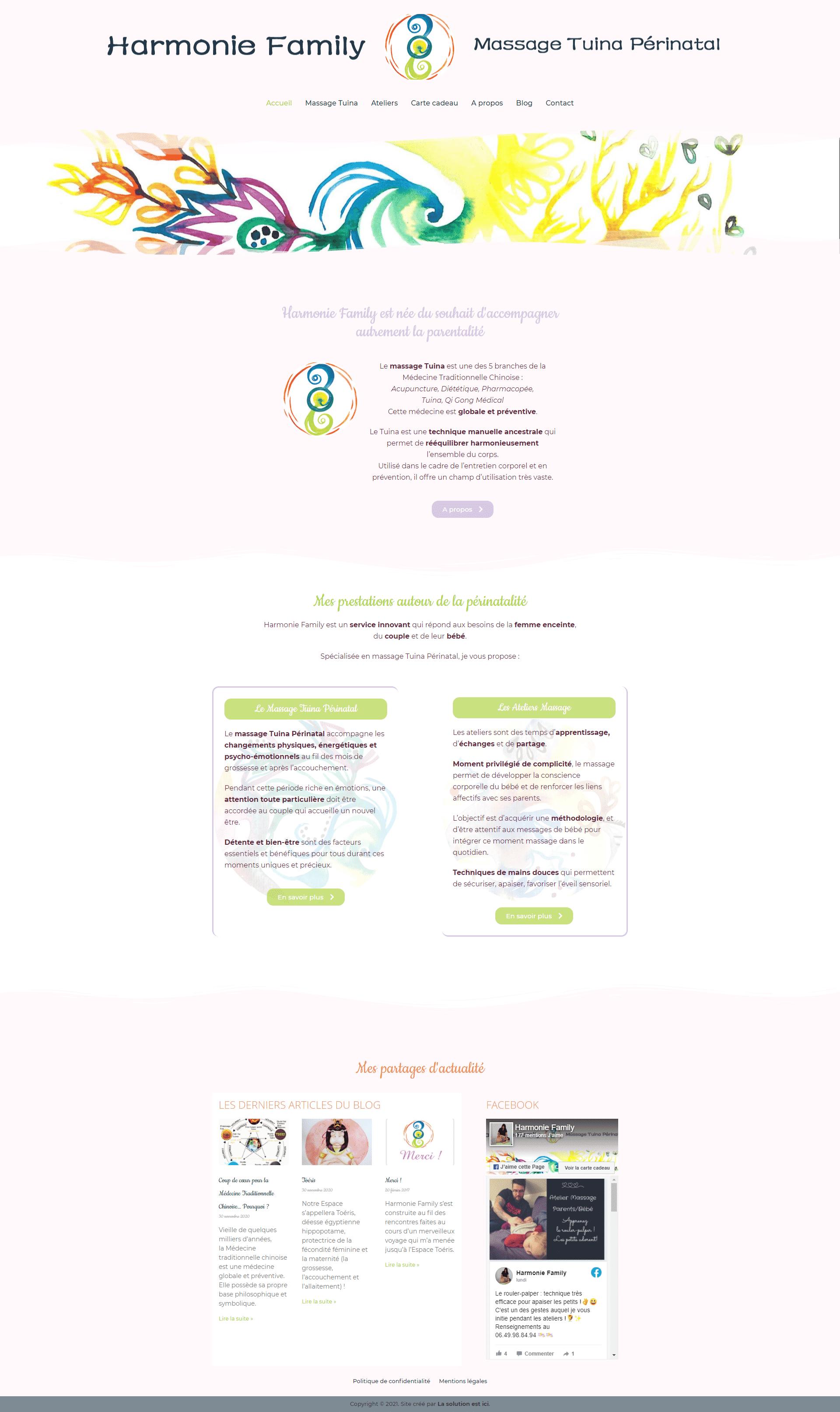 site internet Christelle Trésorier Harmonie Family